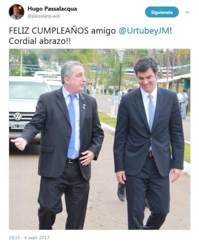 captura twitt passalacqua cumpleaños de urtubey