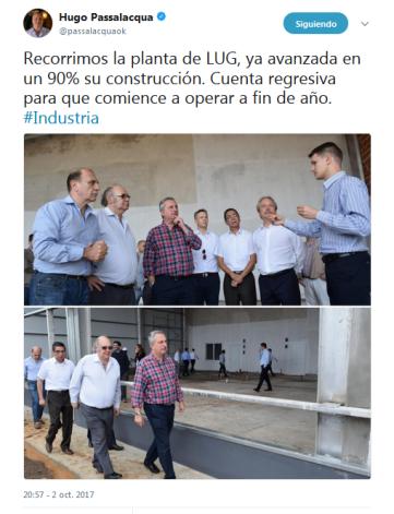 Twitter oficial de Hugo Passalacqua
