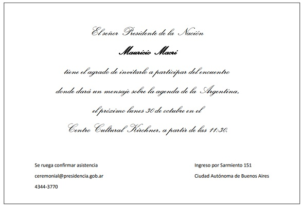 invitación macri
