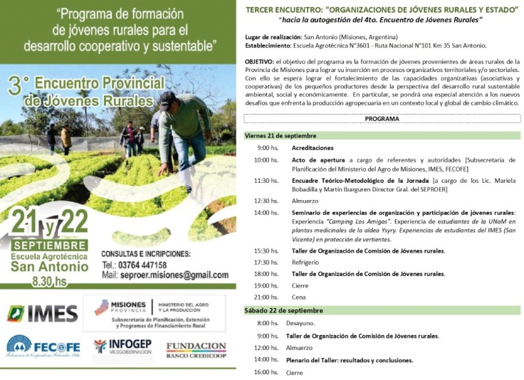 Programa encuentro de jovenes rurales 21 y 22 de sept