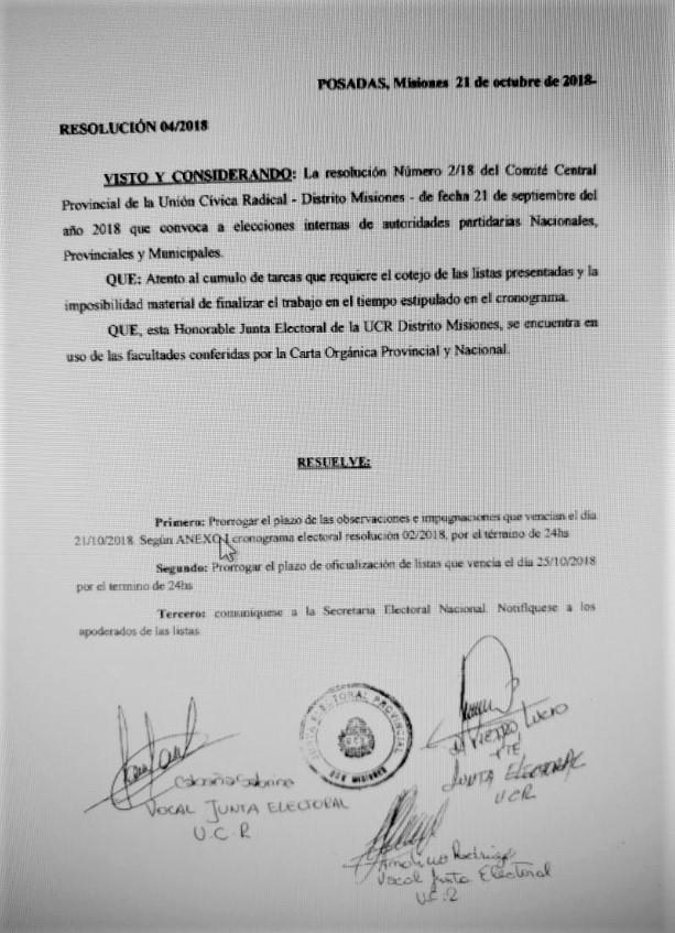 prorroga resolucion comite central 22oct2018