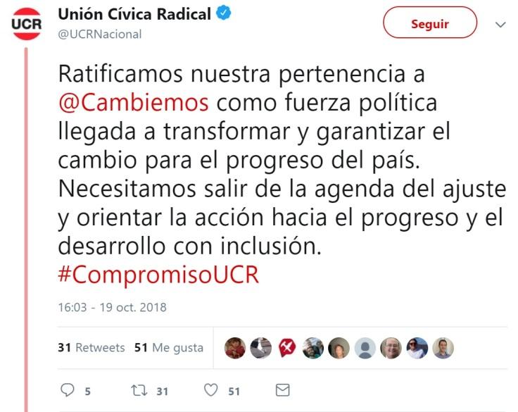 ucr ratificamos pertencia a cambiemos pero necesitamos salir de la agenda de ajuste 19oct2018