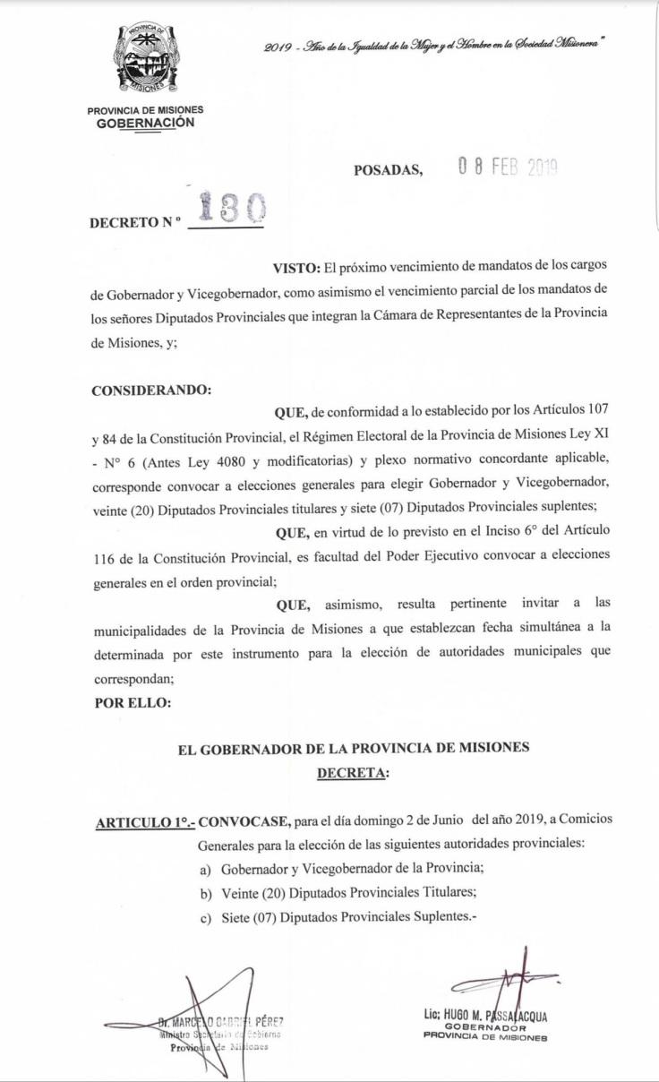 decreto elecciones 2019 2