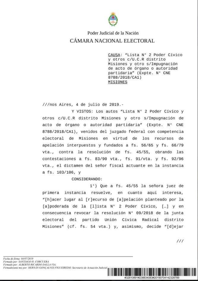 CAPTURA NOTIFICACION CAMARA NACIONAL ELECTORAL TEMA UCR 2
