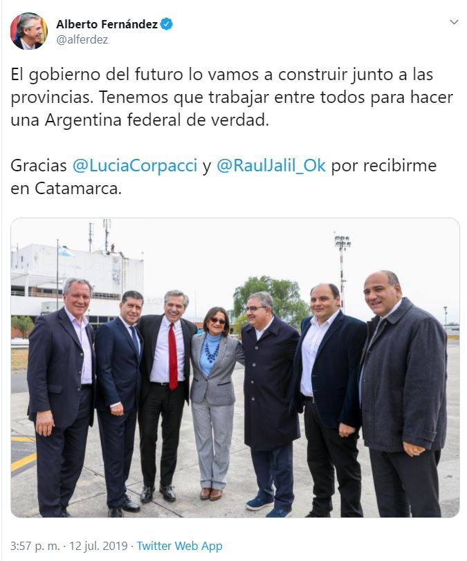 Captura twitt fernandez con gobernadores julio en catamarca