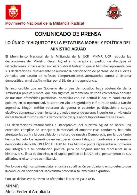 comunicado de prensa mnmr tema ALDO RICO