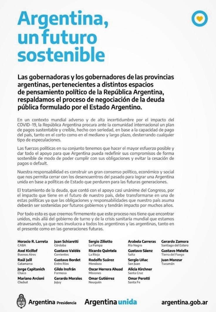 solicitada gobernadores argentina sostenible 4mayo